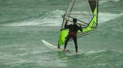 Windsurf storm riders in Mediterranean Sea. Stock Footage