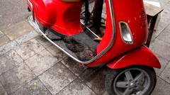 Chickens sleep on a red motorbike on a noisy street of Hanoi, Vietnam, Riding Stock Footage