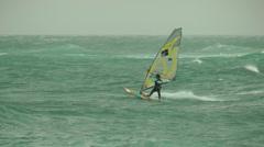 Windsurf storm riders in Mediterranean Sea. Very high jump. Stock Footage