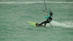 Windsurf storm riders in Mediterranean Sea. Kite surf jump. Stock Footage
