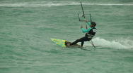 Stock Video Footage of Windsurf storm riders in Mediterranean Sea. Kite surf jump.