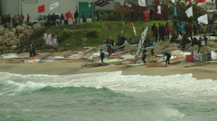 Windsurf storm riders in Mediterranean Sea. The shore after the competition. Stock Footage