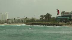 Windsurf storm riders in Mediterranean Sea. Slow Motion. Kite surfer. Stock Footage