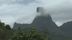 Clouds over the mountains of Moorea Stock Footage