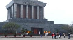 Ho Chi Minh Mausoleum in Hanoi, Vietnam, Vietnamese Memorial, Ba Dinh Square Stock Footage