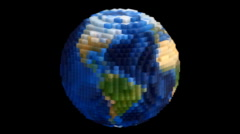 Medium Voxel Planet Earth Globe Spin Loop with Alpha  Stock Footage
