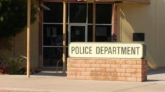 Generic Police Station Entrance & Sign Stock Footage