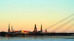 Riga capital of Latvia in wintwer Stock Footage
