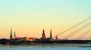 Riga capital of Latvia in wintwer Stock Footage