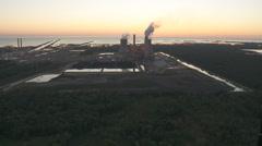 Aerial Nuclear Power Plant Dusk West Stock Footage
