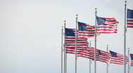 Stock Video Footage of The Washington Monument's flags waving in the wind. (2)