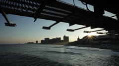 Atlantic City Skyline under bridge - stock footage