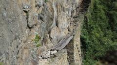 Machu Picchu Inca Bridge Stock Footage