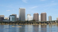 Stock Video Footage of Richmond, Virginia Skyline & River #2