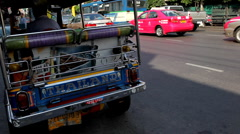 Tuk Tuk On The Streets of Bangkok, Thailand, Thai Busy Traffic, Rickshaw, Moto Stock Footage