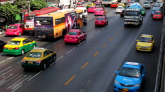 Bustling Street Scene Of Bangkok, Thailand, Thanon Phetchaburi, Colourful Cars Stock Footage