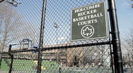 Stock Video Footage of Rucker Park Sign in Harlem NYC