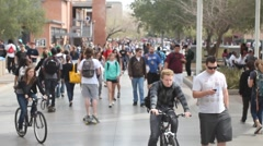 Stock Video Footage of Arizona State University -  Crowd of College Students Walking Wide Shot