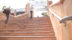 University Staircase Cement Outside Students - Shallow Focus - stock footage