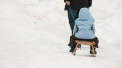 Sledging (Mother With Child) Stock Footage