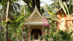 Exotic colorful old style spirit house where people pray in Thailand Island Stock Footage