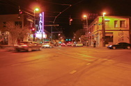 SD 30p - Night city traffic from the middle of a Y intersection Stock Footage