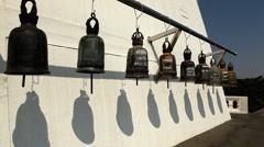 Ringing the Lucky Big Bells, Wat Saket in Bangkok, Thailand, Golden Mountain Stock Footage