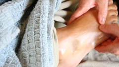massaging feet - stock footage