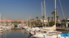 Barcelona port olympic harbour boats 4k Stock Footage
