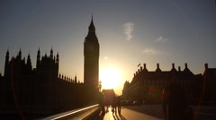 Big Ben against the light at sunset, London Stock Footage