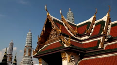 Stock Video Footage of View of the Grand Palace in Bangkok, Thailand, Wat Phra Kaews, Yak Chedi, Buddha