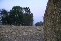 Farmer Round Baling Hay Stock Footage