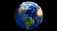 Large Voxel Planet Earth Globe Spin Loop Stock Footage