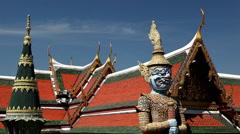 Stock Video Footage of View of the Grand Palace in Bangkok, Thailand, Wat Phra Kaews, Yak Chedi, Buddha