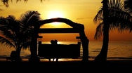 Young couple kissing on bench in exotic tropical beach shore at beautiful sunset Stock Footage