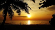 Family walking on exotic tropical beach shore at beautiful calm sunset Stock Footage