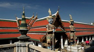 View of the Grand Palace in Bangkok, Thailand, Wat Phra Kaews, Yak Chedi, Buddha Stock Footage