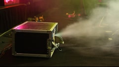 Smoke machine generates a stream of white smoke Stock Footage