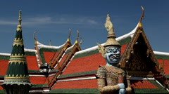 View of the Grand Palace in Bangkok, Thailand, Wat Phra Kaews, Yak Chedi, Buddha Stock Footage