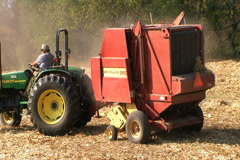 Round Baler in Action Stock Footage