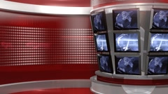 Red Virtual News Studio 3 closeup4 Stock Footage