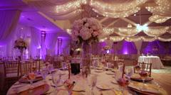 Wedding table setting up lights Stock Footage