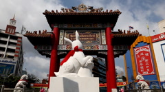 Year Of The Golden Rabbit, Zodiac 2011, Chinatown Gate Odeon, Bangkok, Thailand Stock Footage