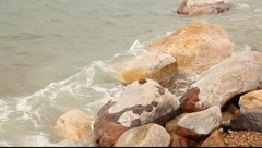 Close up view to the stone on the dead sea coast Stock Footage