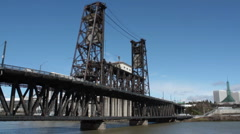 N Steel Bridge Portland Stock Footage