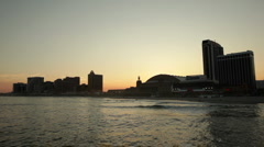 Atlantic City skyline sundown - stock footage