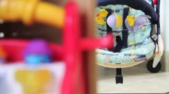Great shot of empty baby swing rocking at day care center Stock Footage