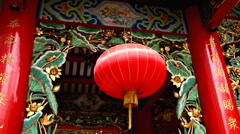 Red Lantern The Chinese Temple Chao Mae Kuan Yin Shrine in China Town in Bangkok Stock Footage