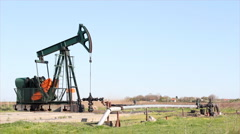 Oilfield with pumpjack Stock Footage