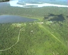 Limon Cocha lake and village with Rio Napo in background Stock Footage